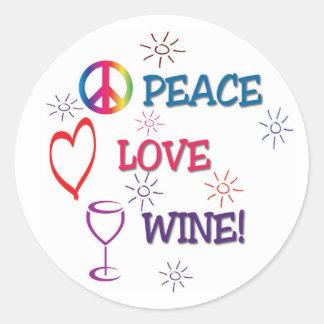 Pegatina del vino del amor de la paz