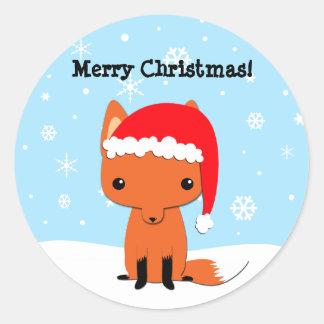 Pegatina del zorro del navidad