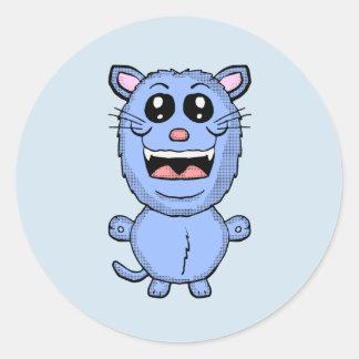 Pegatina divertido del gato azul del dibujo