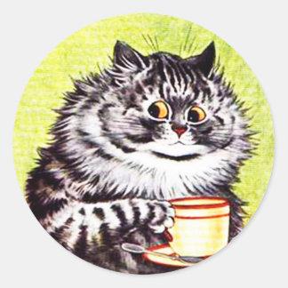 Pegatina divertido del gato del vintage, gatos de