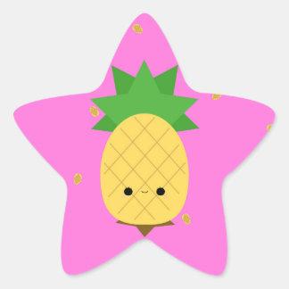 Pegatina dulce de la estrella de la piña