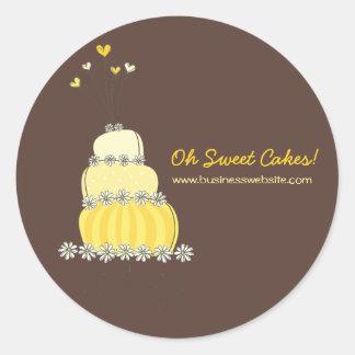 Pegatina elegante caprichoso amarillo del pastel