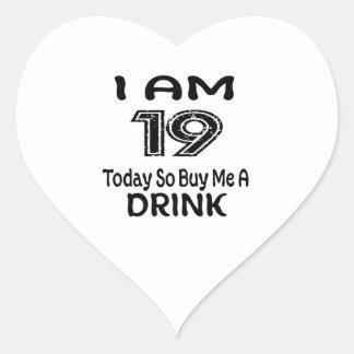 Pegatina En Forma De Corazón 19 hoy tan cómpreme una bebida