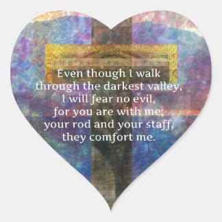 Pegatina En Forma De Corazón 23:4 del salmo - aunque camino por…