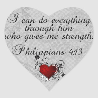 Pegatina En Forma De Corazón 4:13 cristiano de los filipenses del verso de la