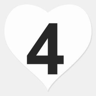 Pegatina En Forma De Corazón 4 - número cuatro