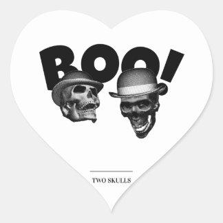 Pegatina En Forma De Corazón ¡Abucheo de dos cráneos!