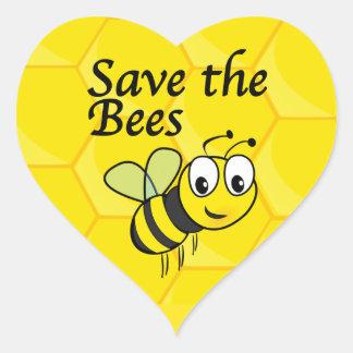 Pegatina En Forma De Corazón Ahorre las abejas