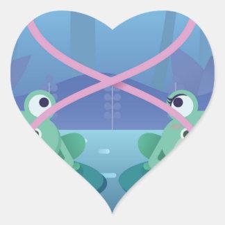 Pegatina En Forma De Corazón amantes de la rana del día de San Valentín
