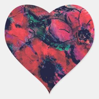 Pegatina En Forma De Corazón Amapolas