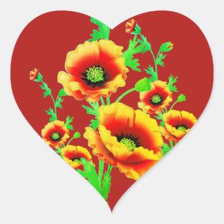 Pegatina En Forma De Corazón Amapolas rojas, amor en forma de corazón floral
