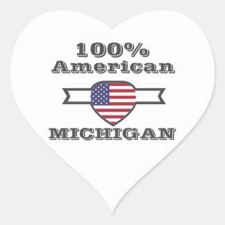 Pegatina En Forma De Corazón Americano del 100%, Michigan