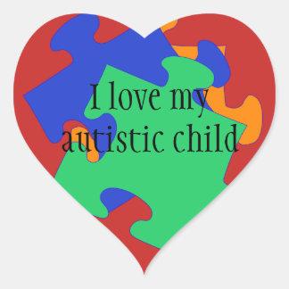 Pegatina En Forma De Corazón Amo a mis pegatinas autísticos del niño
