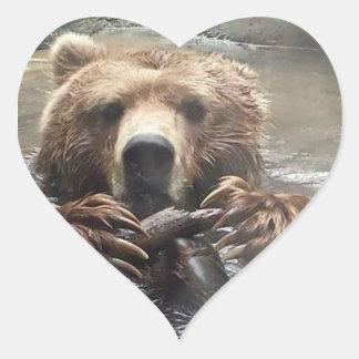 Pegatina En Forma De Corazón Amo a osos grizzly