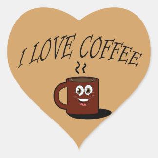 Pegatina En Forma De Corazón Amo el café