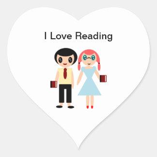Pegatina En Forma De Corazón Amo el leer