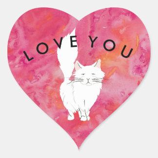 Pegatina En Forma De Corazón Amor blanco tropical del gato usted