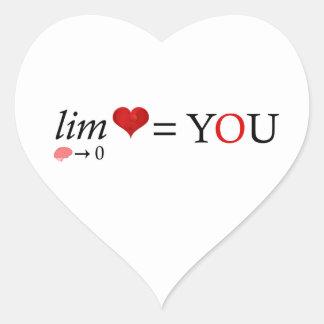 Pegatina En Forma De Corazón Amor de la matemáticas