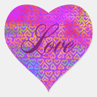 Pegatina En Forma De Corazón Amor de los corazones del arco iris