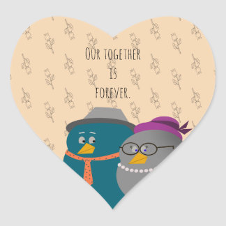 Pegatina En Forma De Corazón Amor retro de los pájaros del ejemplo junto para