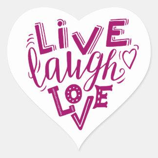 Pegatina En Forma De Corazón Amor vivo de la risa - cita de las letras de la