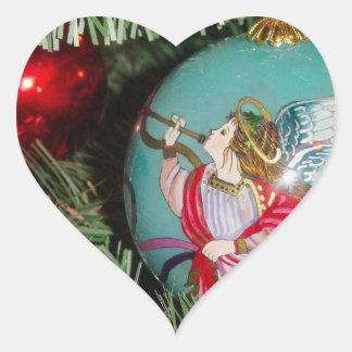 Pegatina En Forma De Corazón Ángel del navidad - arte del navidad -