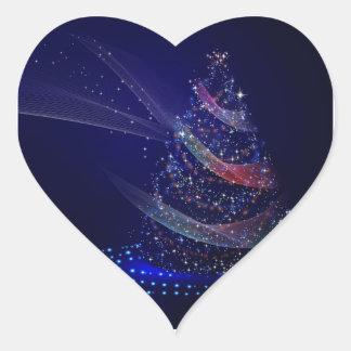 Pegatina En Forma De Corazón Árbol azul hermoso