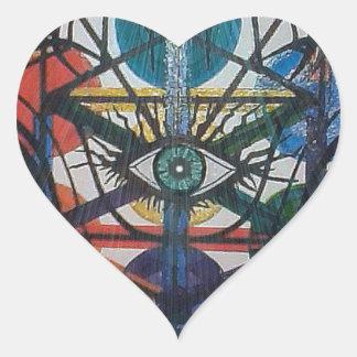 Pegatina En Forma De Corazón Árbol que brilla intensamente de la vida
