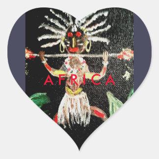 Pegatina En Forma De Corazón Arte africano