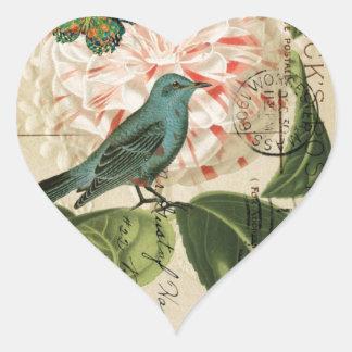 Pegatina En Forma De Corazón Arte botánico francés del vintage de la camelia