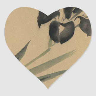 Pegatina En Forma De Corazón Arte de Ukiyo-e del japonés del iris