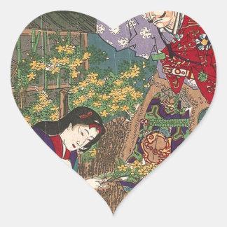 Pegatina En Forma De Corazón Arte hermoso japonés del samurai del geisha