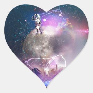 Pegatina En Forma De Corazón Astronauta que monta Nova estupendo