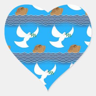 Pegatina En Forma De Corazón Azul abstracto de la paloma y de la tierra del