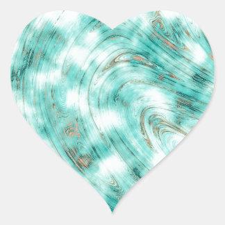 Pegatina En Forma De Corazón Azul de mármol abstracto