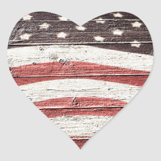 Pegatina En Forma De Corazón Bandera americana pintada en textura de madera