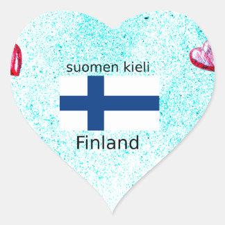 Pegatina En Forma De Corazón Bandera de Finlandia y diseño finlandés de la