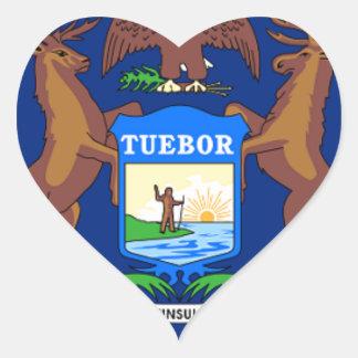 Pegatina En Forma De Corazón Bandera de Michigan