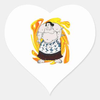 Pegatina En Forma De Corazón Barrendero del sumo