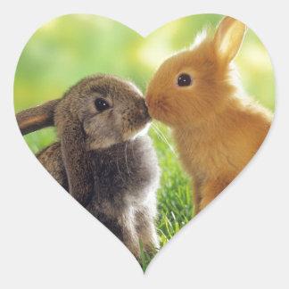 Pegatina En Forma De Corazón Beso del conejito