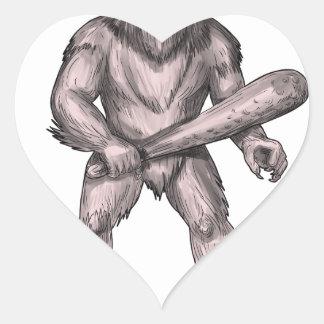 Pegatina En Forma De Corazón Bigfoot que celebra el tatuaje derecho del club