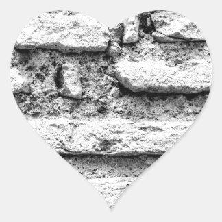Pegatina En Forma De Corazón Brickwall rústico