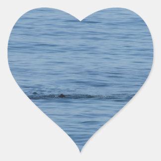 Pegatina En Forma De Corazón Buceador del mar en nadada del juego del equipo de