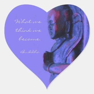 Pegatina En Forma De Corazón Buda tallado mano azul