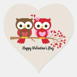 Pegatina En Forma De Corazón Búhos del día de San Valentín felices