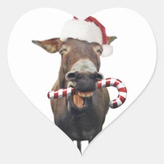 Pegatina En Forma De Corazón Burro del navidad - burro de santa - burro santa
