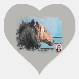 Pegatina En Forma De Corazón Caballos/Cabalos/Horses