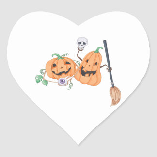 Pegatina En Forma De Corazón Calabazas lindas de Halloween