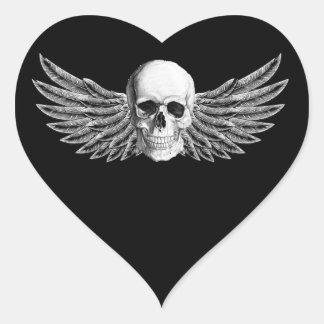 Pegatina En Forma De Corazón calavera1-alada