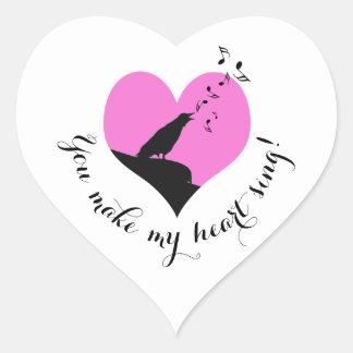 Pegatina En Forma De Corazón Canción rosada del corazón del el día de San